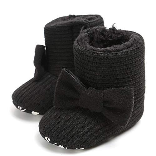 LIVEBOX Newborn Baby Cotton Knit Booties,Premium Soft Sole Bow Anti-Slip Warm Winter Infant Prewalker Toddler Snow Boots Crib Shoes for Girls Boys (S: 0~6 Months, Black)