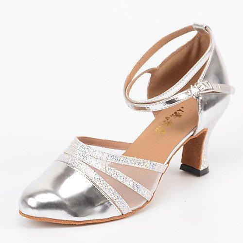T.T-Q Zapatos de Baile de salón de Baile Moderno Personalizado Plata de tacón