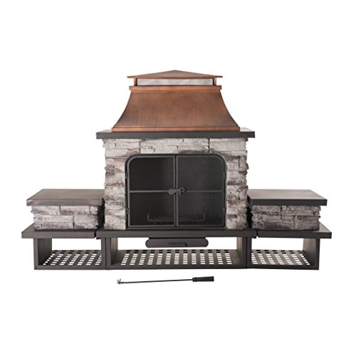 Sale!! Sunjoy Bel Aire Fireplace large with two table-flats