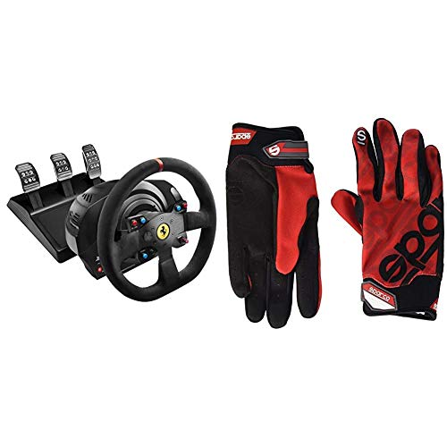 ThrustMaster T300 Ferrari Integral Alcantara Edition - Volante para PS4/PS3/PC, Force Feedback, 3 Pedales, Licencia Oficial Ferrari + Sparco 002093RS2M Guantes, Rojo, M