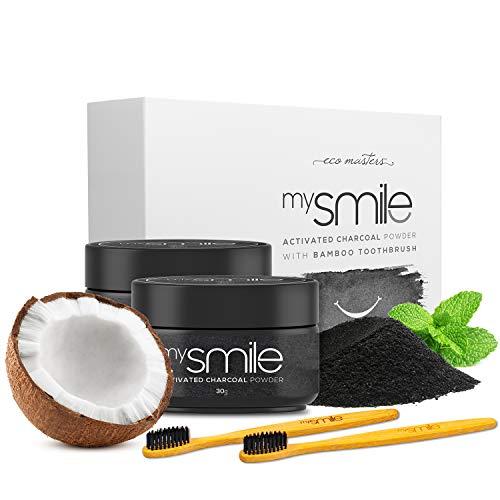 Blanqueador Dental Carbón Activado y Cepillos Bambu Natural mysmile - 100% Natural y Vegano, Rico en Bicarbonato de Sodio, Polvo de Carbón Activo Dientes de Coco y Aceite de Menta, Sin Peróxido