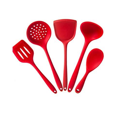 WZHZJ 5 UNIDS Herramientas de cocina Conjunto Utensilios Accesorios de cocina de grado alimenticio Grado de silicona Resistencia a la temperatura antiadherente Utensio de cocina Herramientas de cocina