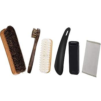 Shoe Shine Brush Kits-100% Horsehair Shoe Brushs for Shoes Dauber Nubuck- 6 Pieces