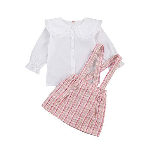 2 Piezas Conjunto de Camisa y Falda para Bebé Niña 2-7 Años Top Blusa Blanca con Cuello de Volantes y Mangas Largas + Falda a Cuadros con Tirantes Traje Completa de Primavera Otoño (Rosa, 6-7 Años)
