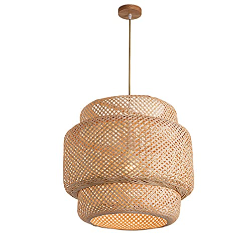 FREETT Bambú Lámpara Colgante, Vintage Jaula Luz Colgante, Enchufe E27, Cable Ajustable, Nórdico Minimalista Iluminación Colgante para Cocina Restaurante Dormitorio