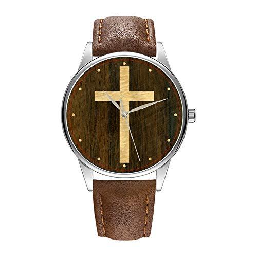 Herrklocka brun Cortex kvartsklocka för män berömd klocka kvartsur för PR-gåva grundläggande kristet kors träfaner lönn rosenträ armbandsklockor.