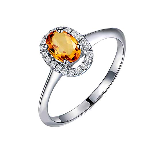 KnBoB Women Sterling Silver Rings 925 Oval Yellow Citrine with Cubic Zirconia Ring Size V 1/2