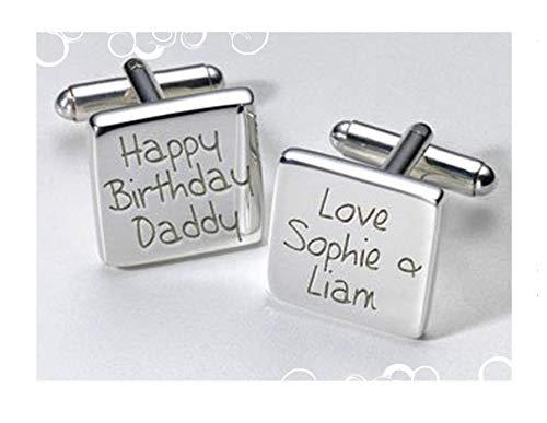 Happy Birthday Daddy Boutons de manchette carrés personnalisé cadeau de Noël, d'anniversaire, cadeau spécial du personnel
