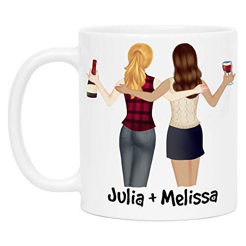 Kiddle-Design Beste Freundinnen Tasse Personalisiert mit Namen Beste Freundin Geschenk Freundinnengeschenk Kaffeetasse