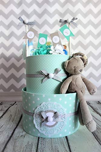 MISS NAPPY CAKE Windeltorte BÄR mint Baby Junge Mädchen neutral Geschenk Geburt, Taufe, Babyparty