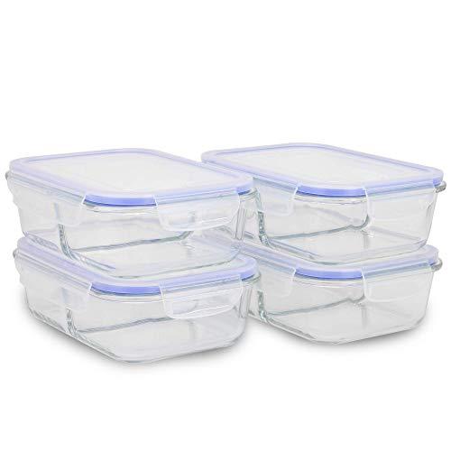 Set di 4 contenitori per preparazione pasti in vetro | Contenitori di preparazione alimentare | Contenitori ermetici ermetici e a prova di perdite | Comparti separati | M&W (2 scomparti)
