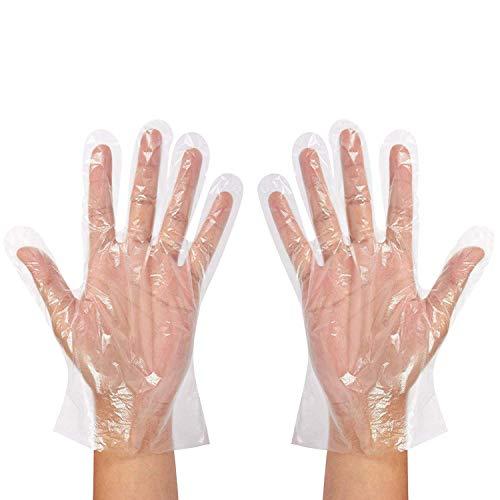 Libertepe 500 Stück Einweghandschuhe (5 Boxen) für die Zubereitung von Lebensmitteln rutschfeste Einmalhandschuhe Kunsthandschuhe aus Kunststoff transparent Einheitsgröße PE Handschuhe (500)