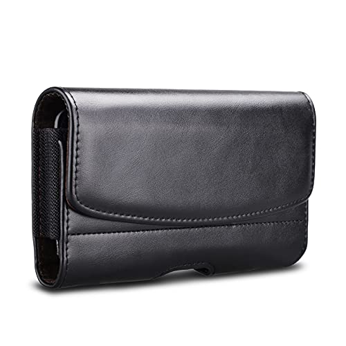 Tiflook Phone Holster Belt Clip Case for Samsung Galaxy S21 Ultra S21 Plus S20 FE S10+ S9+ S8+ Note 20 Note 10 Plus Note 9 Note 8 A11 A21 A51 A71 A20 A50 Leather Carrying Case Pouch Belt Holder,Black