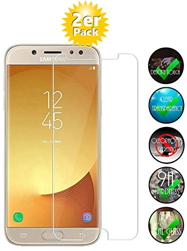 Smartphone-Equipment [2er Pack] Panzerglas für Samsung Galaxy J5 2017 Echt-Hartglas 9H, Displayschutz Panzerfolie Glasfolie Schutzfolie Glas Folie Display Schutz