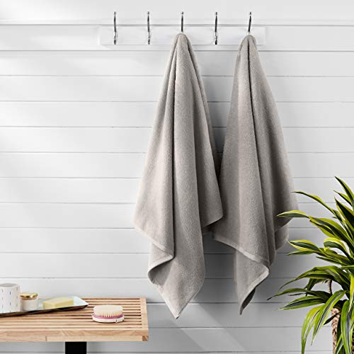 AmazonBasics Quick-Dry Bath Towels, 100% Cotton, Set of 2, Platinum
