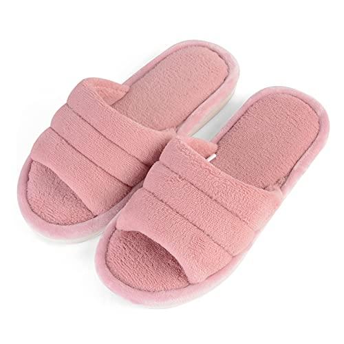 OEAK Zapatillas de estar por casa para mujer, de felpa, con puntera abierta, cálidas, antideslizantes, para invierno y para interior y exterior, rosa, 39/40 EU