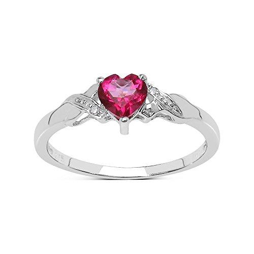 De Collectie van Roze Topaas Ring : 9ct Witgouden hartvormige diep Roze Topaas met Diamant gezet op Schouders, Eeuwigheidsring, Moederdag, Jubileum, Cadeau, Ringgrootte 9,10,11,12,13,15,16,17,19,24,20,15,6,21,22