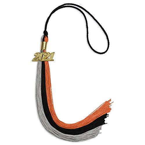 Endea Graduation Triple Color Tassel with Gold Date Drop (Black/Orange/Grey, 2021)