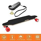 Longboard E Komplettboard Elektrisches City Skateboards Elektrolongboard mit Fernbedienung und 250W Motor | Reichweite 10 km, Max. Geschwindigkeit 20km/h (Rot)
