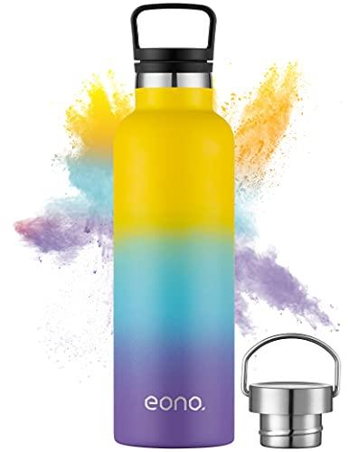 Amazon Brand - Eono Borraccia Termica 750 ml, Bottiglia Acqua in Acciaio Inossidabile, con Cannuccia e 3 Tappi Thermos, Senza BPA, Borraccia Riutilizzabile per Adulti, Bambini, Scuola, Viaggio