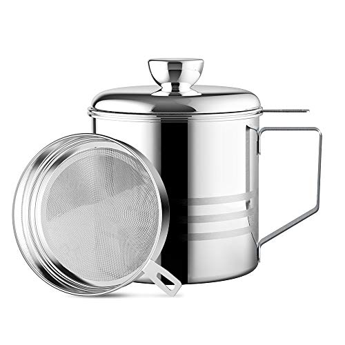 Chihee Oil Strainer Pot Grease Can, 1.2 L Stainless Steel Oil Storage Can Container with Fine Mesh Strainer, Suitable for Storing Frying Oil and Cooking Grease