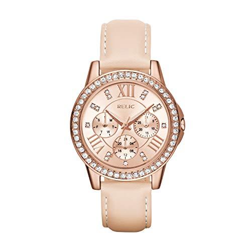 Relic by Fossil Women's Layla Analog-Quartz Watch with Leather Calfskin Strap, Beige, 16 (Model: ZR15907)