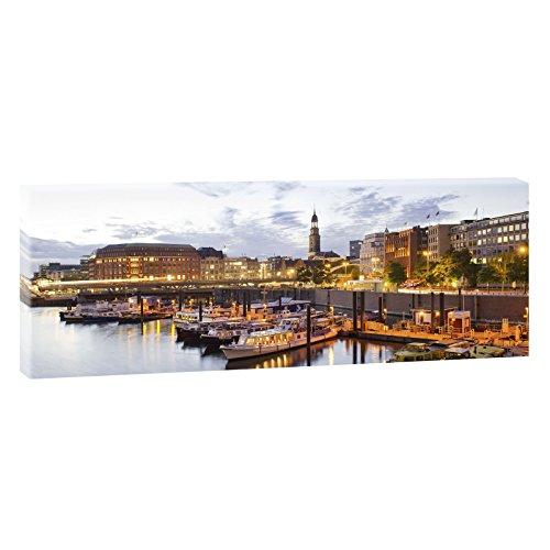 Querfarben Hamburg - Hafen | Panoramabild im XXL Format | Trendiger Kunstdruck auf Leinwand | 150 cm x 50 cm