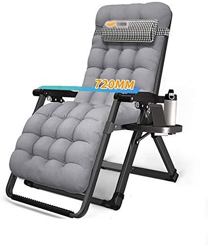 Silla tumbona Silla plegable portátil de la tumbona con el reposacabezas, balcón Silla de salón individual, cama de almuerzo de oficina, silla de playa de camping al aire libre, almohadilla de algodón
