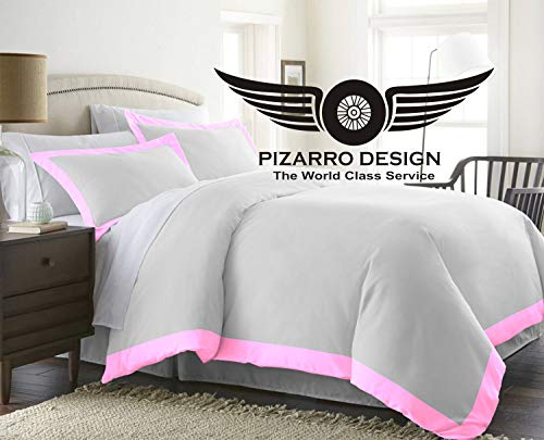 PIZARRO DESIGN 1000-TC Hypoallergenic Ultra Soft design 100% Egyptian Cotton 114x95 inch Emperor Size Pink Solid Duel Tone Duvet Cover With Button Closure & 2pcs Pillow Case Set