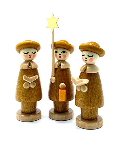 Drechslerei Friedbert Uhlig 03KB - Figura decorativa (3 figuras, 5 cm de altura, madera regional, torneada, hecha a mano), diseño de la serie Metálica, color marrón