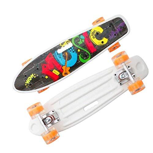 Skateboard 55cm/21.65in Fishboard Cruiser Skateboard Banana Fish Board Outdoor Sport Portable Skate Board