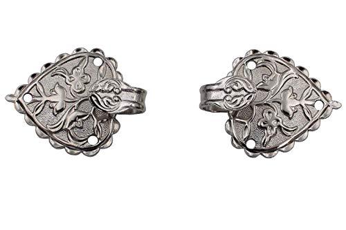 Hartmann-Knöpfe Silber glänzende Miederhaken für Dirndl Mieder Coursage aus Metall 22mmx28mm (2 Stück)