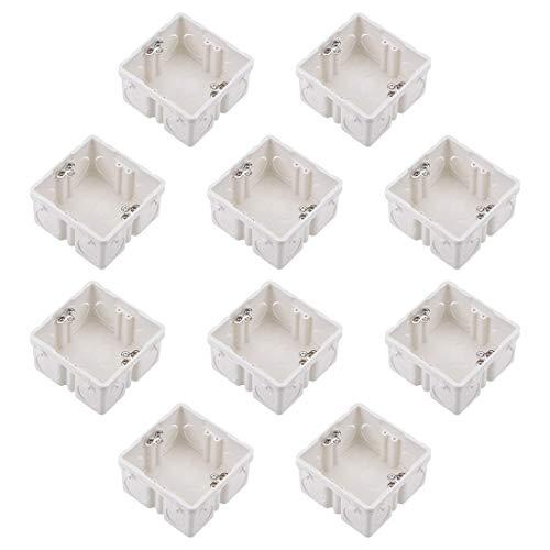 Caja de interruptor de pared DyniLao, montaje empotrado en caja profunda tipo 86, blanco, 10 piezas