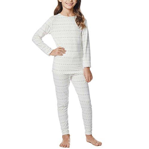 32 Degrees Weatherproof Big Girls Base Layer Thermal Shirt Long Underwear Set (Large, Vanilla Snow Flake)
