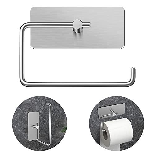 Toilettenpapierhalter Ohne Bohren, DDF iohEF Selbstklebend Toilettenpapierrollenhalter Silber Klopapierhalter Edelstahl Wc Papier Halterung Wandmontage für Küche und Badzimmer