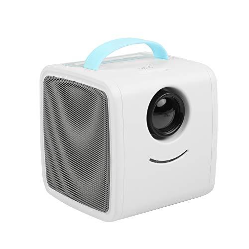 ASHATA Mini Proyector,Educación Temprana Proyector LED Portátil para Ver Videos,Escuchar Música, Estudiar.Cine en Casa para Regalo de los Niños(Protege los Ojos,Apoyo Múltiples Idiomas)(Azul)