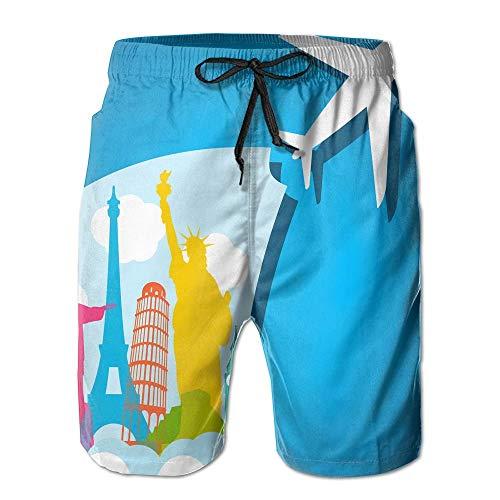RROOT Vliegtuig-Vakantie Casual Mannen Zomer Surfen Sneldrogende Zwembroek Shorts Strand Broek met Pocket
