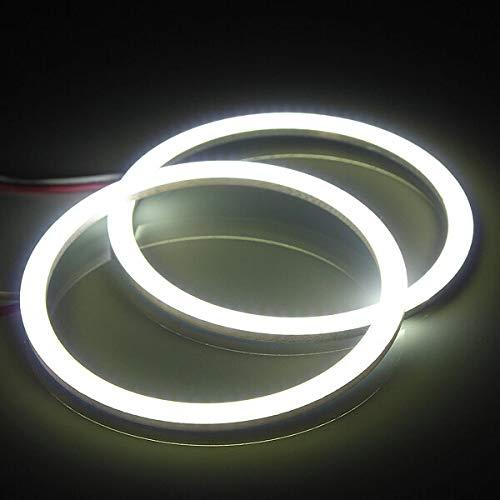 KASILU 70mm COB LED Angel Ojos Easy Halo Ring Lamp 12V-24V 300LM Bricolaje (Color : White)