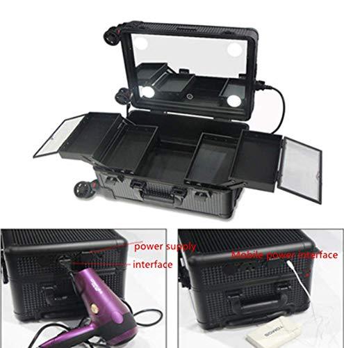 Maquillage Trolley 2-in-1 Lumières intégrées à LED - 3 couleurs de lumière - Pieds réglables - Rotation à 360 ° 4 roues - Trolley roulant à roulettes,Black,29x22.5x40cm