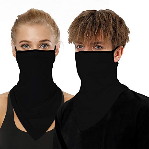 2 PCS Black Neck Gaiter with Ear Loops Gators Face Mask Men Women Breathable Bandana Face Cover Reusable Balaclava Face Scarf for Dust Wind Sun Protection