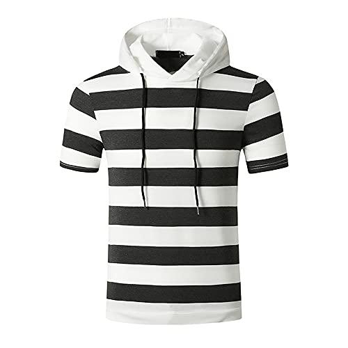 Correr Shirt Hombre Verano Ajuste Regular Moderno Hombre Capucha Shirt Empalme Estampado Deportiva Cuello Redondo Informal Shirt Moda Jogging Urbano Hombre Camuflaje T-Shirt D-Dark Grey M