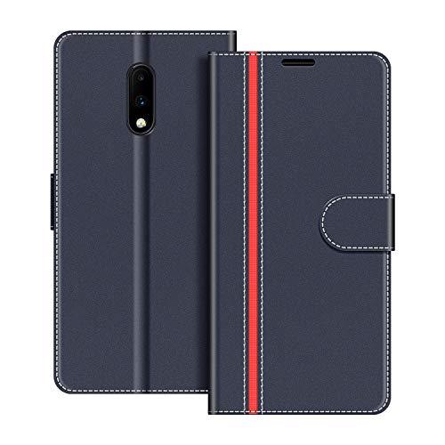 COODIO Handyhülle für OnePlus 7 Handy Hülle, OnePlus 7 Hülle Leder Handytasche für OnePlus 7 Klapphülle Tasche, Dunkel Blau/Rot