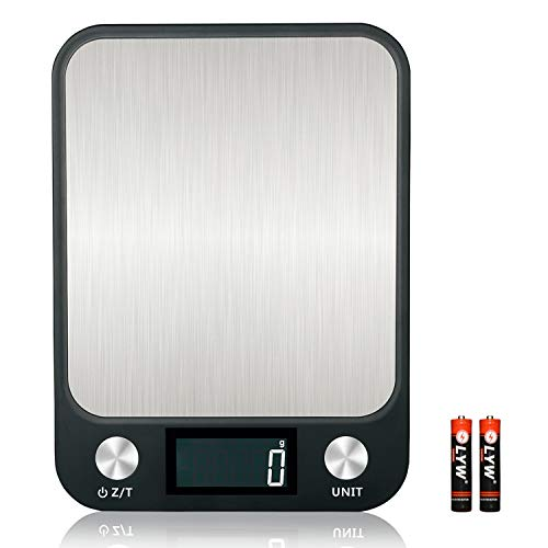 Digital Baking Scale Large LCD Display Scale Max 22 lbs/10kg Precise Scale for Cooking and Baking, Stainless Steel, Easy Clean (Batteries Included)