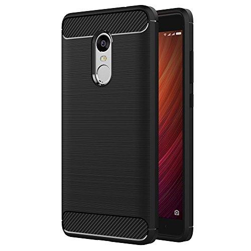 ivoler Kompatibel für Xiaomi Redmi Note 4 / Xiaomi Redmi Note 4X Hülle, Carbon Faser Case Tasche Schutzhülle mit Stoßdämpfung Soft Flex TPU Silikon Handyhülle - Schwarz