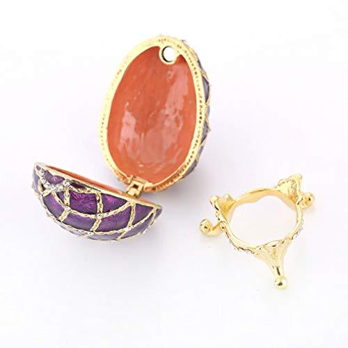 Hemoton Caja de Joyería de Huevo Faberge Ornamento de Huevo de Pascua de Diamantes de Imitación Caja de Baratija Decorativa para Contenedor de Almacenamiento de Pendientes de Collar