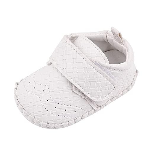 Bebé Niña Zapato de Princesa con Cinta Mágica para 0-18 Meses Niños Primeros Pasos Zapatos de Cuero con Lazo Casual Moda Antideslizante Flor Suave Suela Corona Patrón de Punto Corazón Zapatos niña