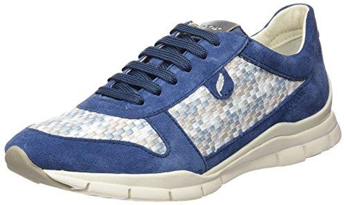 Geox Damen D Sukie A Sneaker, Blau (Denim/Lt Grey), 38 EU