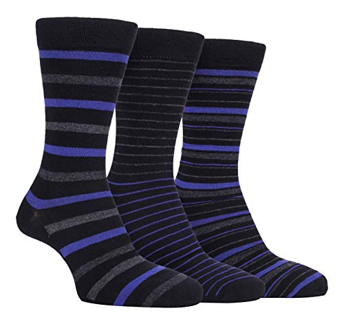 Farah - 3er Pack Herren Business Bunt Bambussocken/Socken mit Gestreift (FCS196BLKPUR, 39/45 eur)