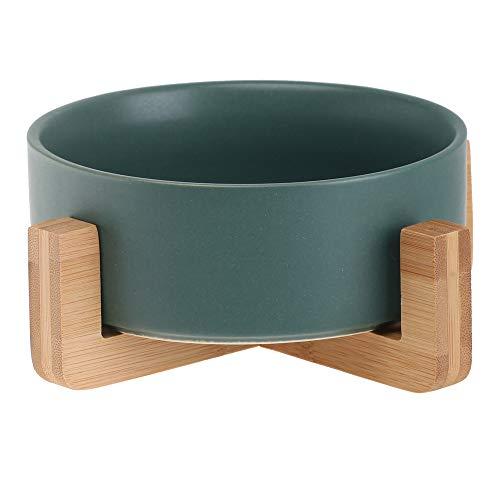 HCHLQLZ Grün Keramik Hundenapf Futternapf Fressnapf Napf für Hund Katzen mit Massivholz Ständer