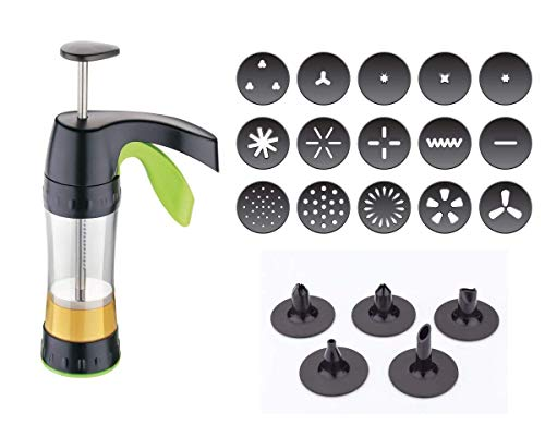 CBEX Biscuit Maker Cookie Making Machine Cookie Press Gun Cake Decoration 15 Cookie Mold & 8 Piping Nozzles Cookie Press Icing Set
